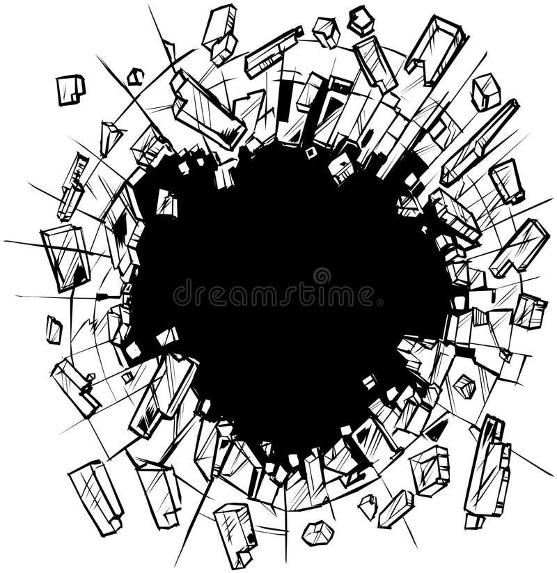 Hole in Shattering Glass Vector Clip Art stock illustration