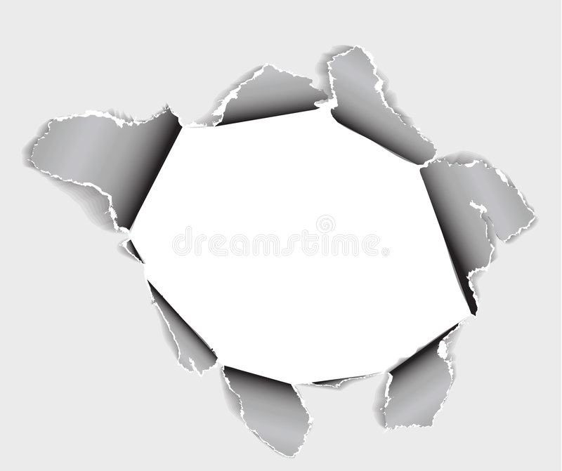 Hole in the sheet of paper. Black and white vector illustration