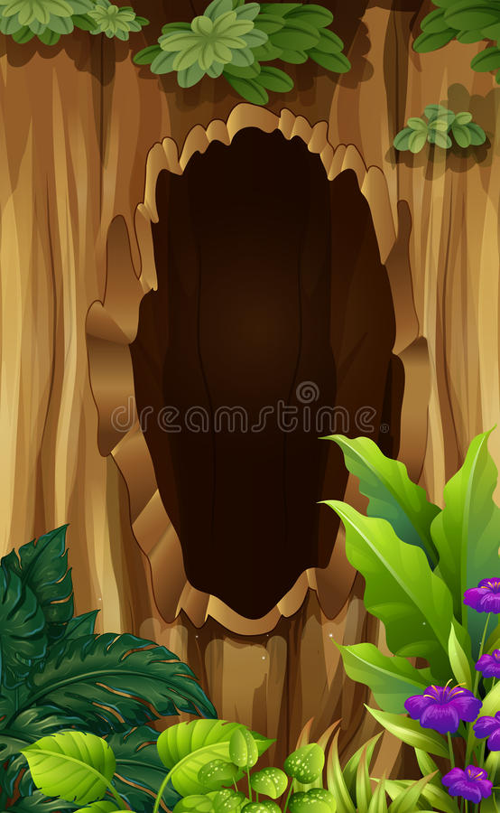 Hole in the tree stock illustration