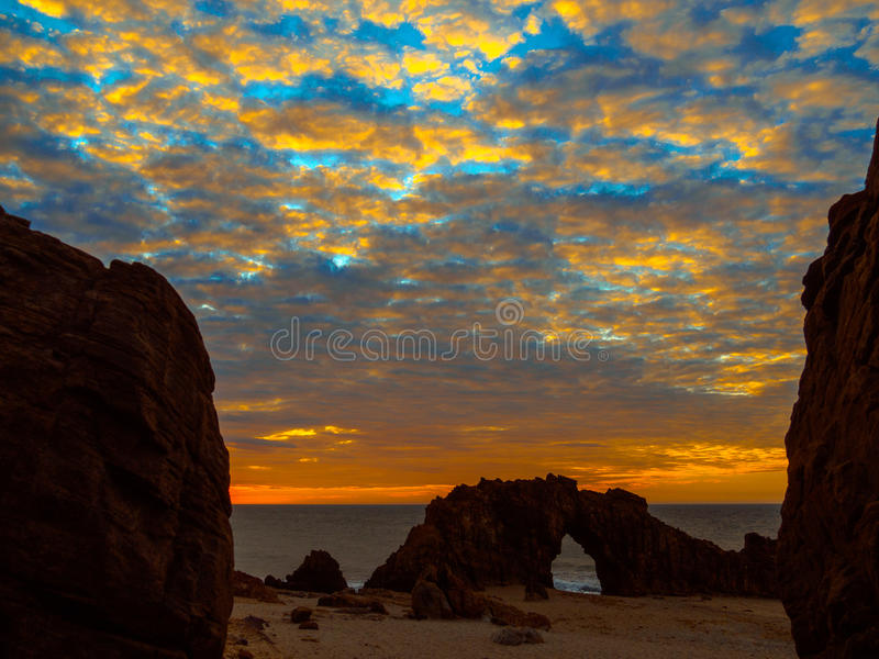 Holed Stone Beach. Sunset in Holed Stone Beach - Jericoacoara National Park - State of Ceara - Brazil royalty free stock images