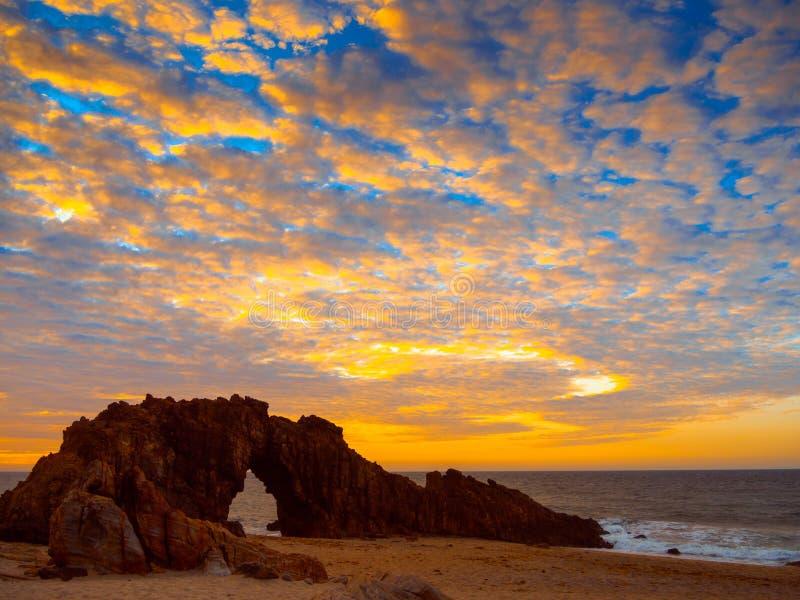 Holed Stone Beach. Sunset in Holed Stone Beach - Jericoacoara National Park - State of Ceara - Brazil stock photography