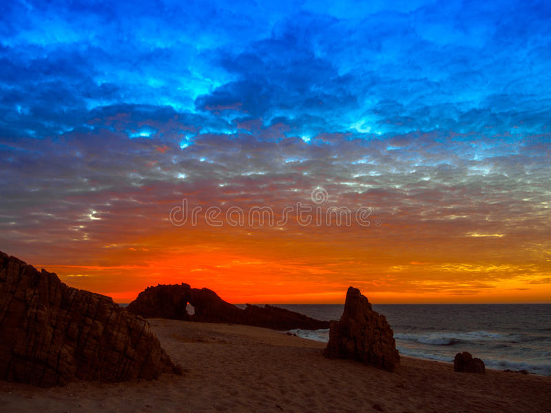 Holed Stone Beach. Sunset in Holed Stone Beach - Jericoacoara National Park - State of Ceara - Brazil royalty free stock image