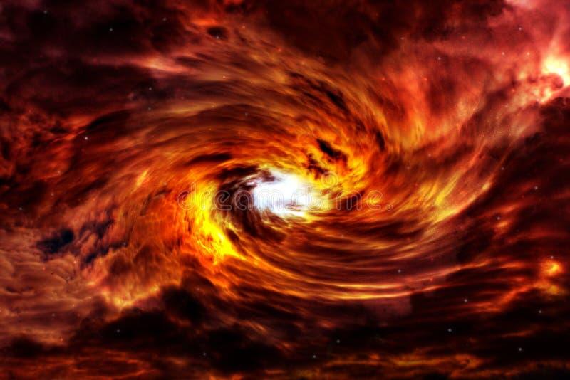 Holeh rojo del negro de la nebulosa stock de ilustración