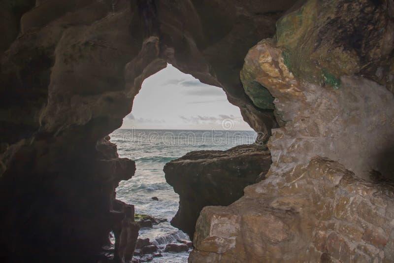 Holen van Hercules Cape Spartel, Tanger stock foto