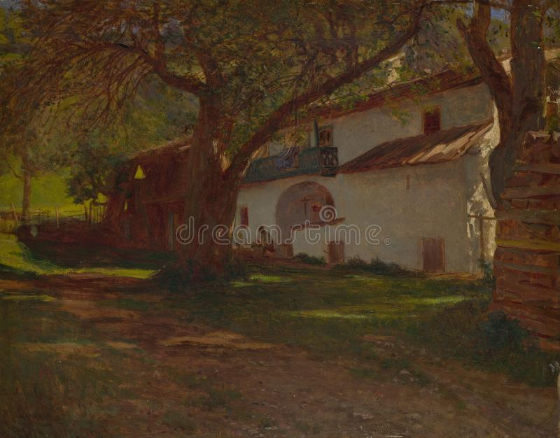 Holender - Biały dom wśród drzew zdjęcie royalty free
