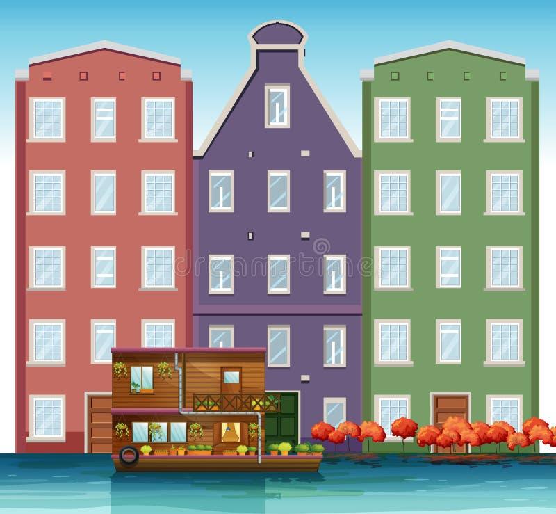 Holendera dom obok kanału ilustracja wektor