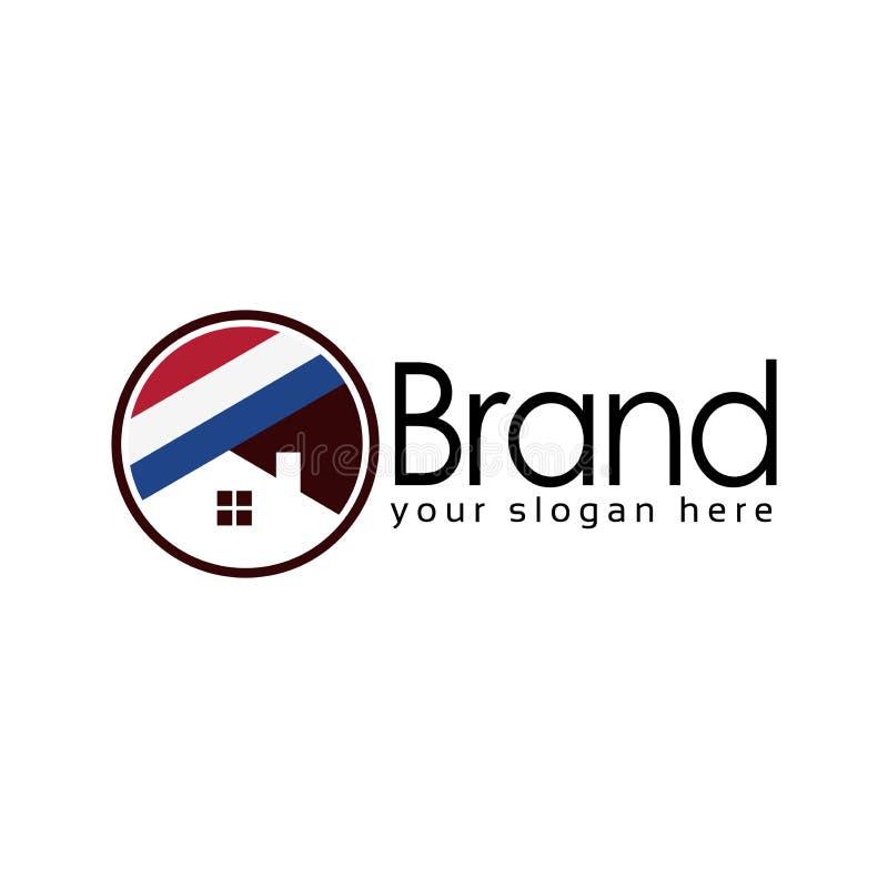 Holendera logo domowy szablon, płaski projekt, akcyjny logo royalty ilustracja