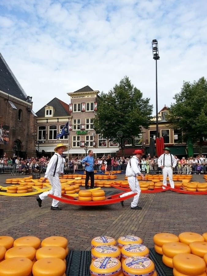 Holenderscy mężczyzna przy Alkmaar sera rynkiem Nederland obraz royalty free