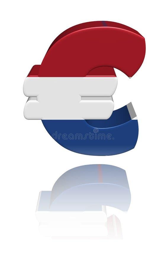 holenderska euro flaga odbijający symbol ilustracji