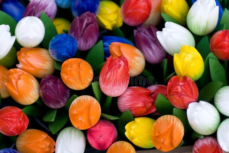 holenderskich tulipanów drewniane zdjęcie royalty free