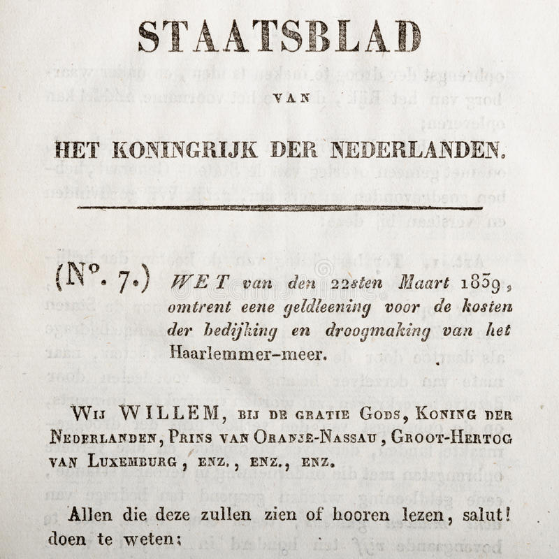 holenderskiego prawa stary tekst obrazy royalty free