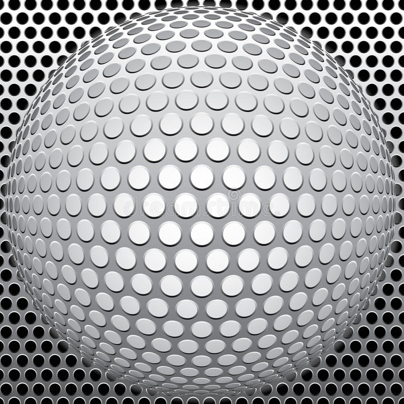 Holes ball. Metal background in three layers, fully editable vector illustration