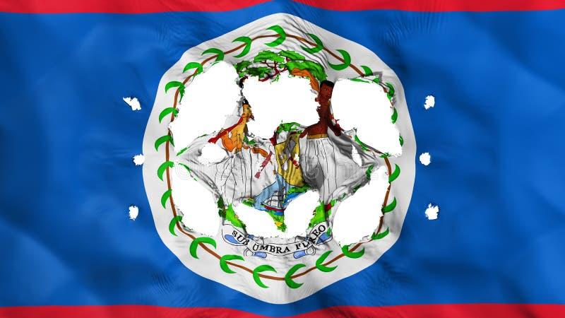 Holes in Belize flag. White background, 3d rendering vector illustration