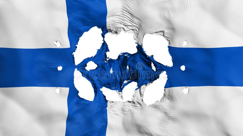 Holes in Finland flag. White background, 3d rendering royalty free illustration
