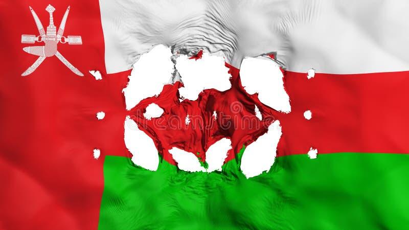 Holes in Oman flag. White background, 3d rendering stock illustration