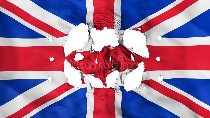 Holes in United Kingdom UK flag. White background, 3d rendering royalty free illustration