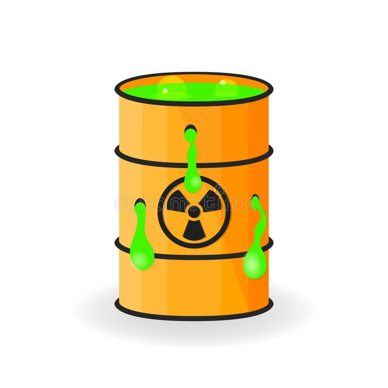 Holey barrel with mucus. Radioactive green slime. Vector illustration vector illustration