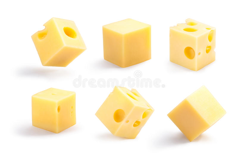 Holey und einfache Käsewürfel stellten, Wege ein stockfotos