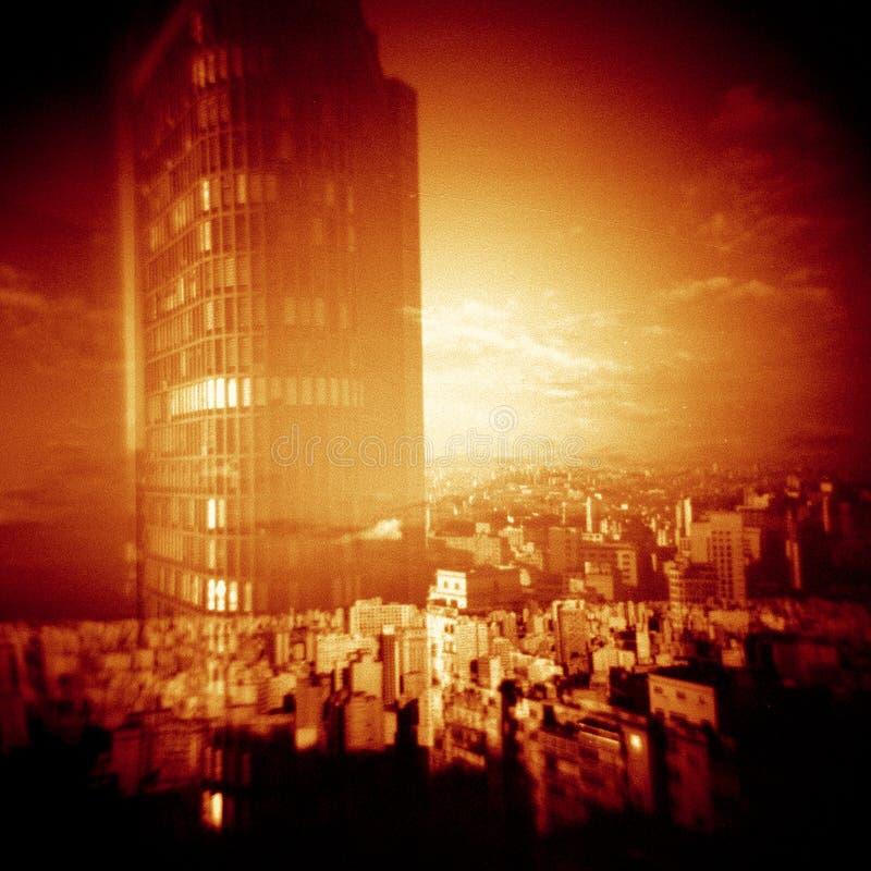 holga experience 2013 São Paulo skyline on lomo stock images