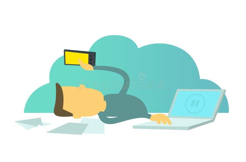Holgazán de la oficina Las redes sociales distraen de trabajo Trabajador con un smartphone Pausa de la rotura en trabajo Trabajad stock de ilustración