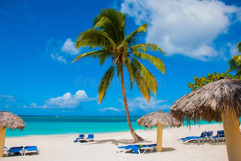 Holguin, Cuba, Playa Esmeralda. Beautiful Caribbean sea turquoise blue color and palm trees on the beach. Sun loungers and umbrell. As for tourists stock photography
