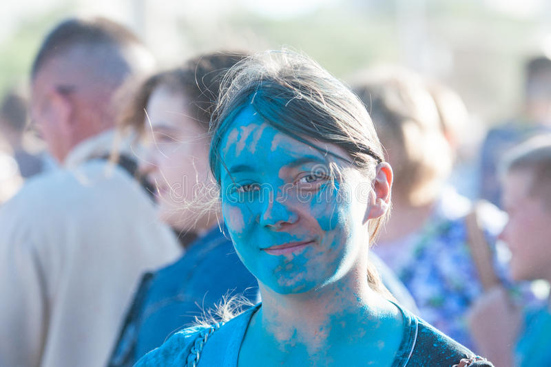 holi节日的青年人  库存照片