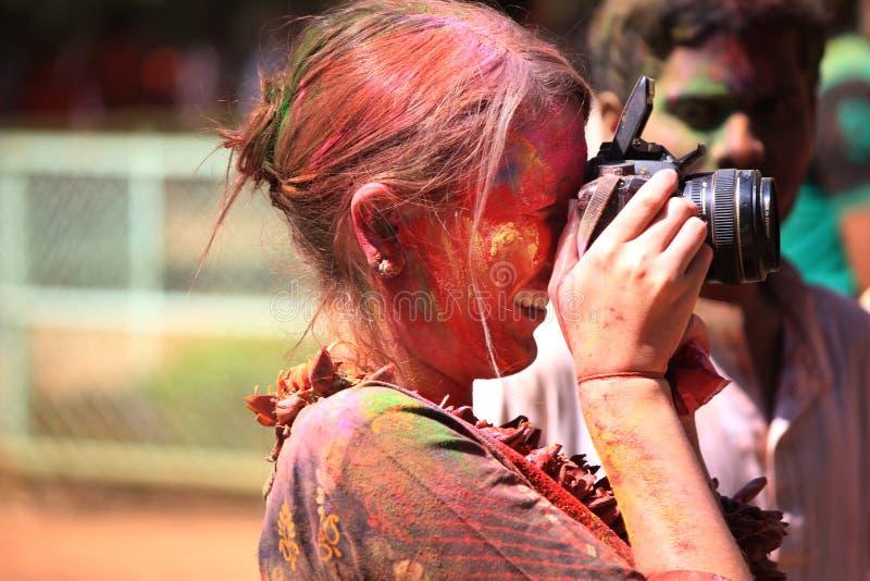 Holi颜色节日的摄影师 图库摄影