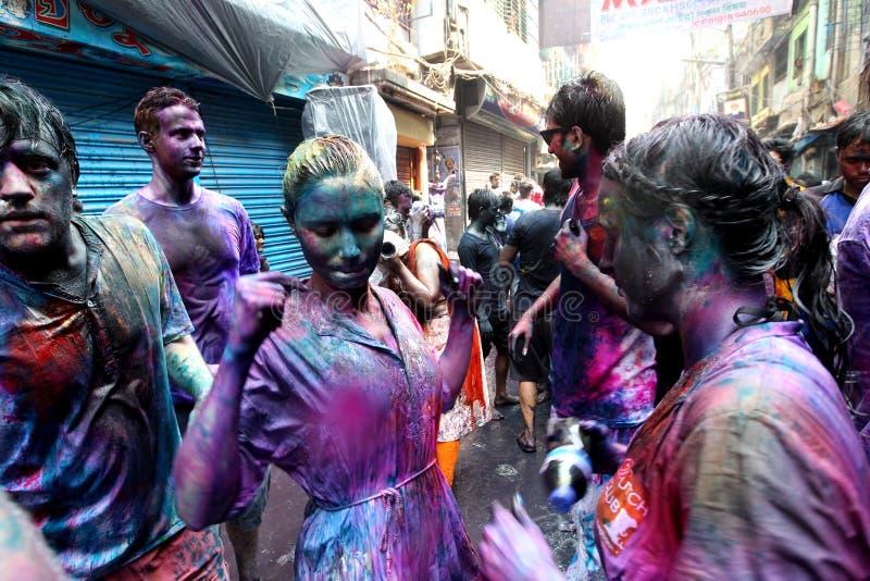 Holi av den Hindus festivalen royaltyfri fotografi