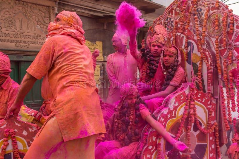 Holi celebration, Vrindavan and Mathura, India stock photography