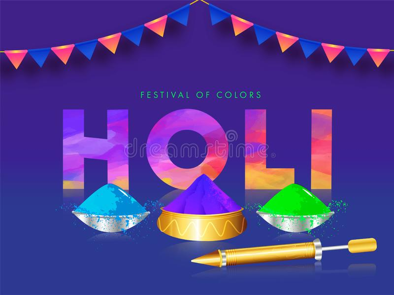 Holi creativo del testo con le ciotole e la pistola di colore su fondo blu per il festival illustrazione vettoriale