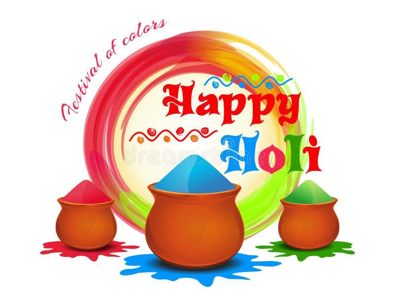 Holi felice Festival dei colori Vector l'illustrazione con colore della polvere, gulal variopinto Polvere di colore di Holi royalty illustrazione gratis