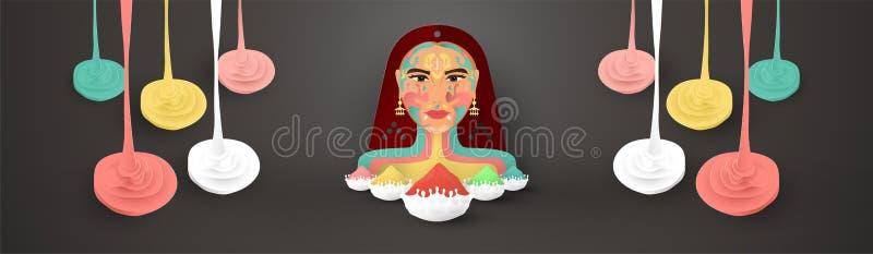 Holi feliz, festival das cores Projeto do elemento do molde para o molde, bandeira, cartaz, cartão Ilustração do vetor no papel ilustração stock