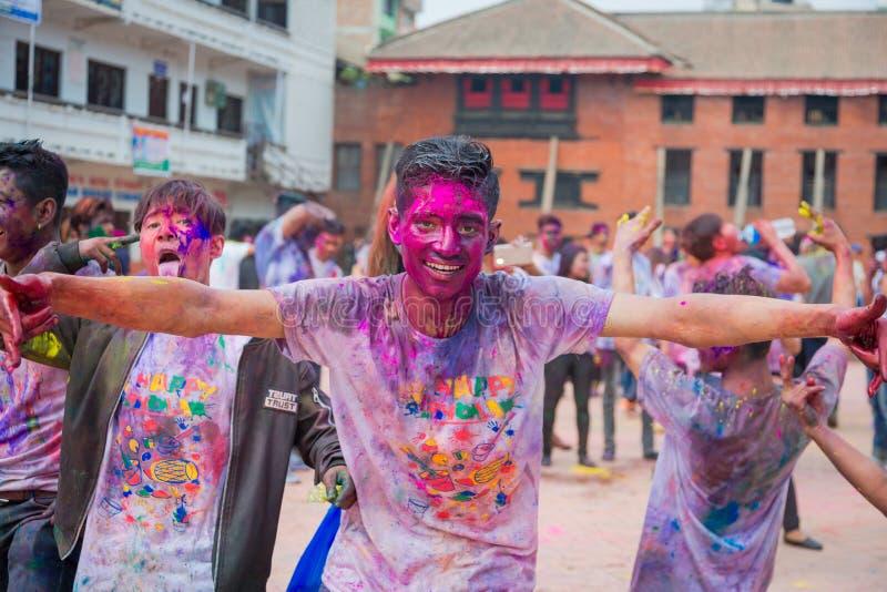 Holi festival av färgberöm i Katmandu Nepal arkivbild