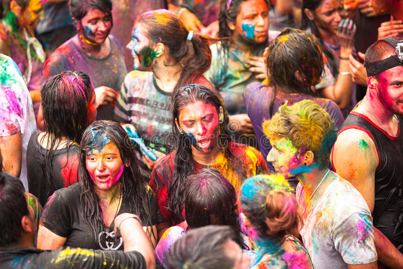 Holi festival av färger i Kuala Lumpur, Malaysia arkivbilder