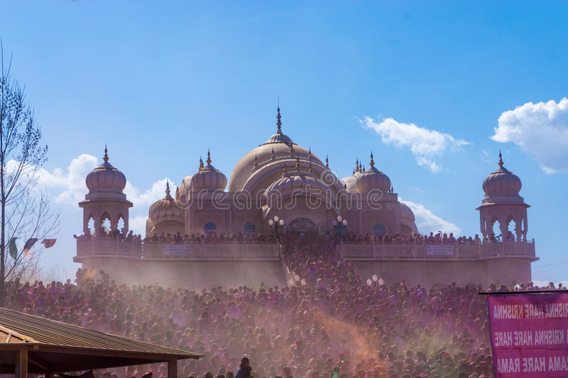Holi Festival of Colors celebrated in Spanish Fork, Utah at the Radha Krishna Temple. royalty free stock photography