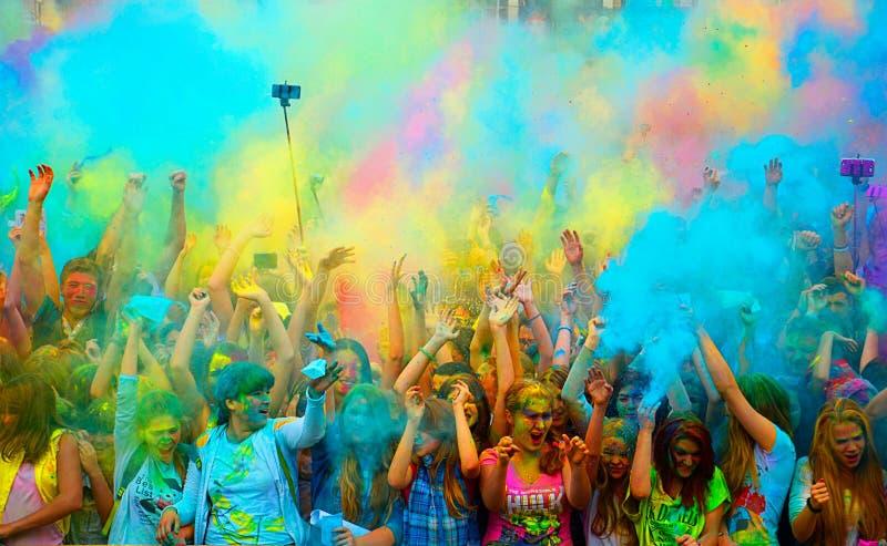 Holi Festival of Colours. SAMARA, RUSSIA. August. 29. 2015. at the Holi color festival in Samara