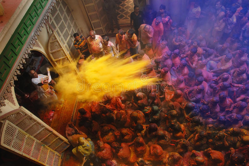 Holi Festival in India. March 09, 2012 Kolkata, West Bengal, India - Holi festival celebrations at the residence of a Gopi Krishna temple in Calcutta