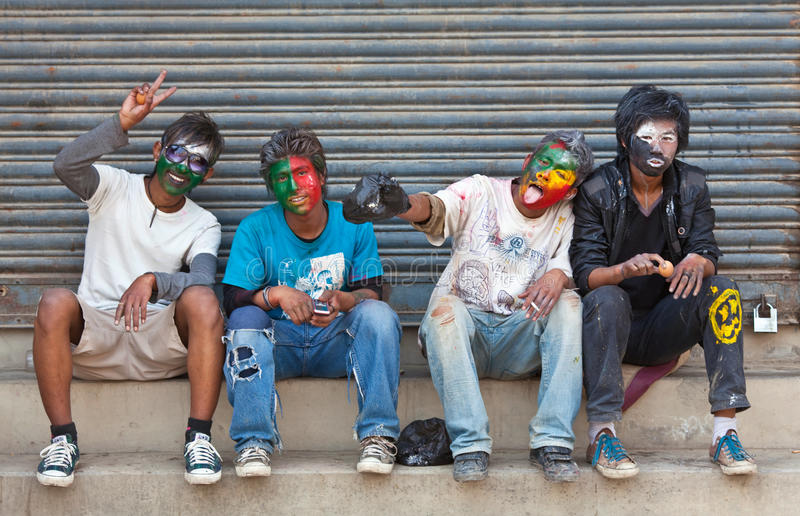 Holi festival in Kathmandu, Nepal royalty free stock images