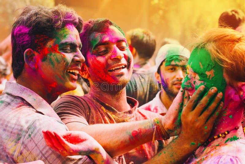 Holi festival Lyckliga Holi! fotografering för bildbyråer
