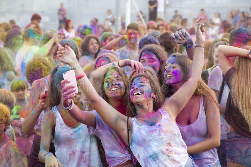 Holi Festival. Some unidentified young people at Holi Festival, on July 31, 2017, in Alella, Barcelona, Spain royalty free stock photography
