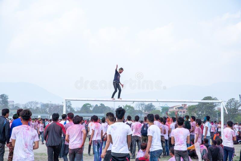 Holi festiwal koloru świętowanie w Tundikhel Kathmandu Nepal obrazy stock