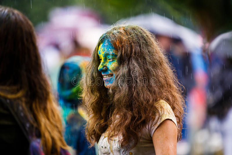 Holi festiwal w Kaliningrad zdjęcia stock