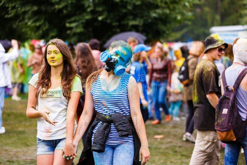 Holi festiwal w Kaliningrad obraz royalty free