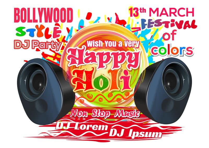 Holi heureux Le DJ font la fête dans le style de Bollywood Festival de Holi - 2017 Festival indien de couleurs et de ressort illustration de vecteur