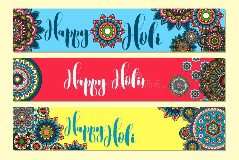 Holi Holiday Horizontal banners. Horizontal banners for Holi Holiday with tribal ornament. Vector illustration vector illustration