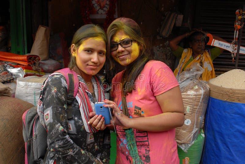 Holi In Kolkata. Indian Collage students celebrating holi festival in Kolkata royalty free stock photos
