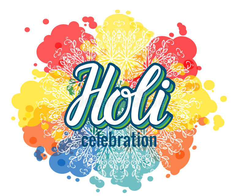 Holi lettering and colorful paint splash spots texture. isolated vector illustration vector illustration