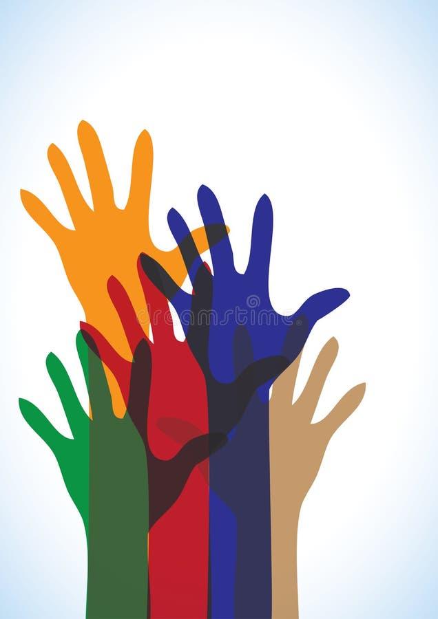 Holi - manos humanas coloridas del vector stock de ilustración