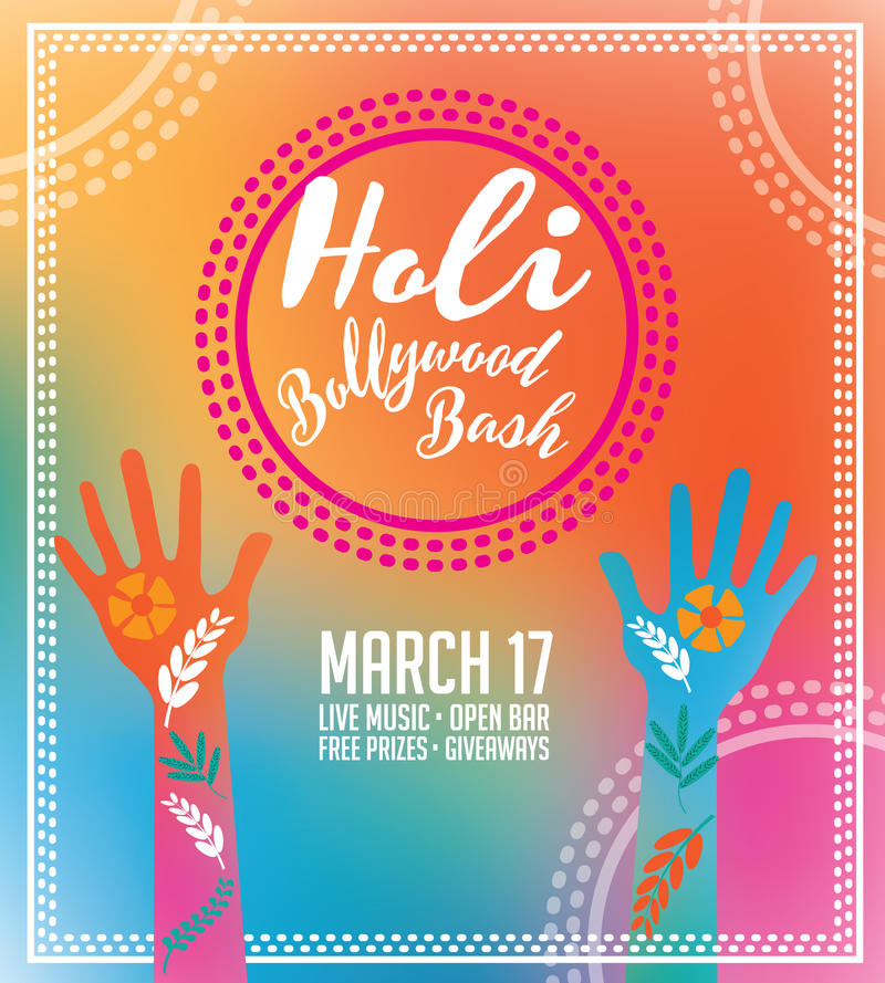 Holi Party Invitation Poster Greeting Card Design. Stock Vector ...