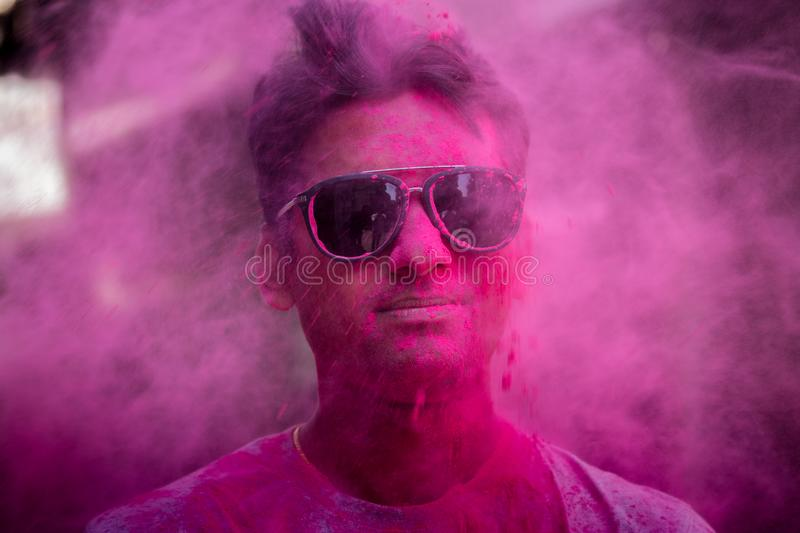 Holi festival color face stock photos